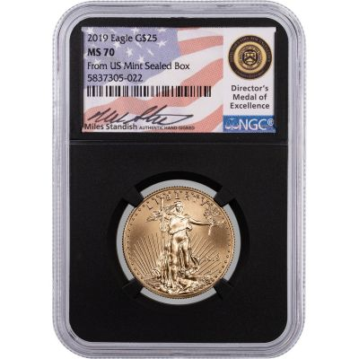 $25 2019 1/2oz American Gold Eagle NGC MS70