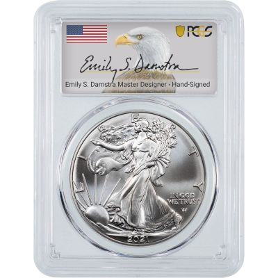 2021 Type 2 American Silver Eagle PCGS MS70 First Strike Emily Damstra Label
