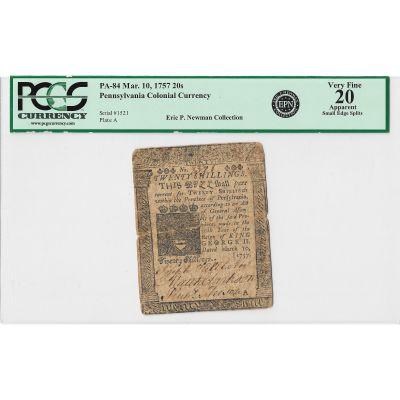 1757 Colonial Currency: 20 Shillings Pennsylvania PCGS CVF