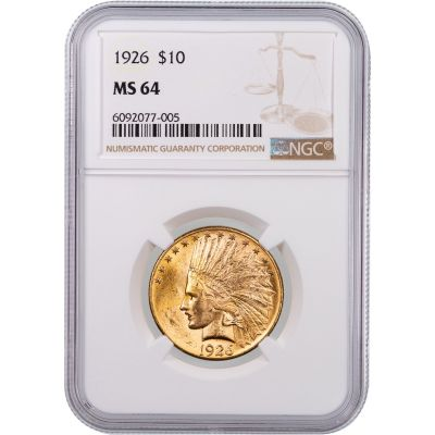 1926-P Indian Head $10 Gold Eagle NGC/PCGS MS64