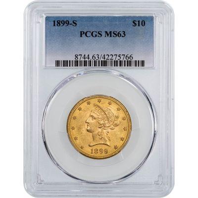 1899-S Liberty Head $10 Gold Eagle NGC/PCGS MS63