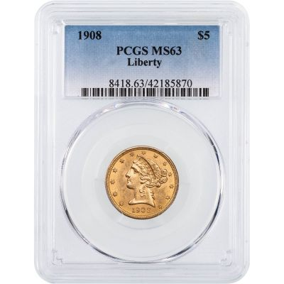 1908-P Liberty Head Gold Half Eagle NGC/PCGS MS63