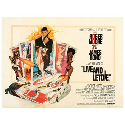 """Robert McGinnis, """"Live and Let Die"""" 1973 British Quad Poster on Linen, Very Fine, Unsigned, Unframed, 30 x 40"""
