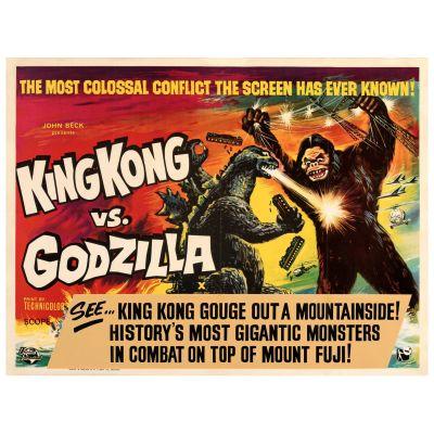 "Rank, ""King Kong vs. Godzilla"" 1963 British Quad Poster on Linen, Fine/Very Fine, Unframed, 30"" x 40"""