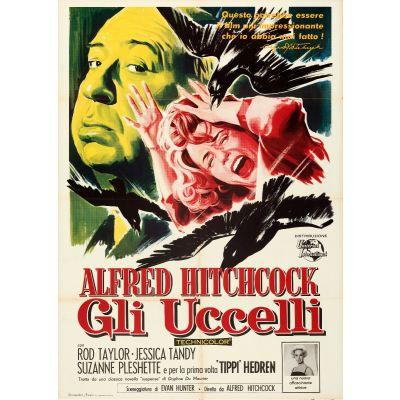 "Universal International, ""The Birds (Gli Uccelli)"" 1963 Folded Italian 2 Fogli Poster, Very Fine, Unframed, 39 x 55"