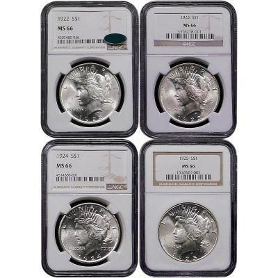 Set of 4: 1922-P to 1925-P Peace Dollars MS66