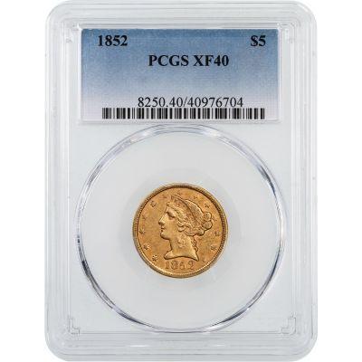 1852-P Liberty Head $5 Gold Half Eagle NGC/PCGS XF40