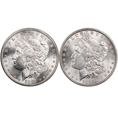 Set of 2: 1887-P & 1881-S Morgan Dollars Brilliant Uncirculated
