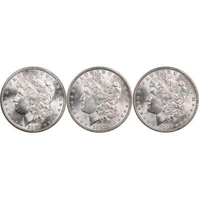 Set of 3: 1900-P, 1887-P & 1881-S Morgan Dollars Brilliant Uncirculated