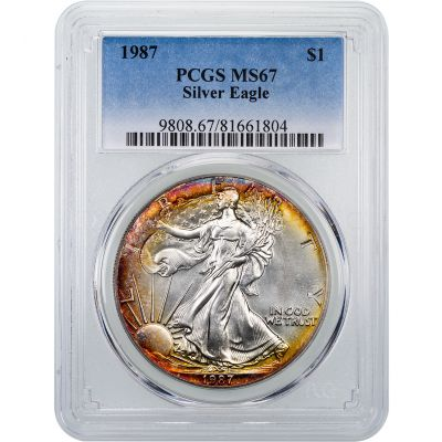 1987-P American Silver Eagle PCGS MS67 Toned