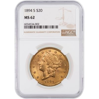 1894-S Liberty Head $20 Gold Double Eagle MS62