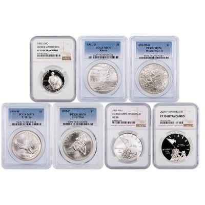 7 coin set: Commemorative Coin Memorial Day Set NGC MS/PF70