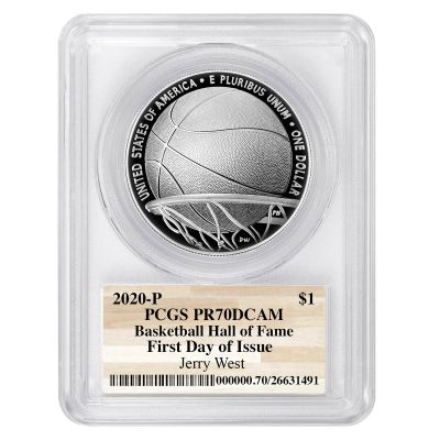 2020-P Silver Basketball Commemorative Dollar First Day of Issue Jerry West PR70 Deep Cameo