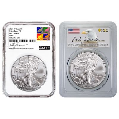 Set of 2: 2021 Type 2 NGC Gaudioso Label, and 2021 Type 2 PCGS Emily Damstra Label American Silver Eagles MS70 Includes: Free Book