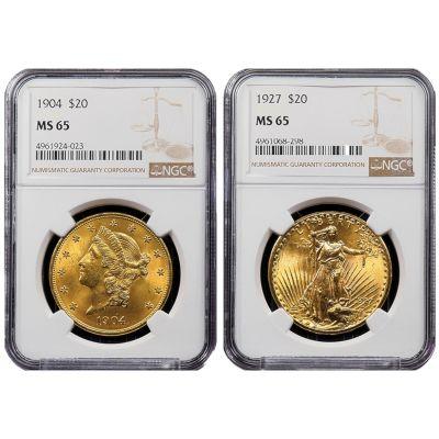 Set of 2: 1904-P Liberty Head & 1927-P Saint-Gaudens Gold Double Eagles MS65