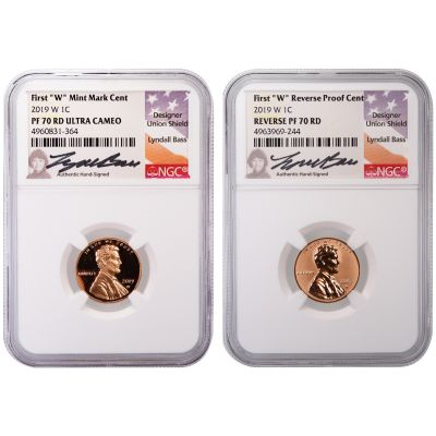 Set of 2: 2019-W Lincoln Cents NGC PF70RD UCAM & Rev PF70 Lyndall Bass Signed Labels