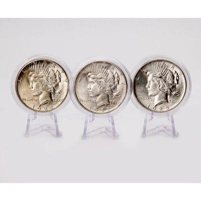 Set of 3: 1925-P, 1923-P & 1922-P Peace Dollars BU
