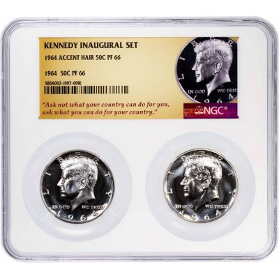 Set of 2: 1964 Accented Hair & 1964 Type 2 Kennedy Half Dollar PF66