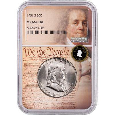 1951-S Franklin Half Dollar NGC MS66+ FBL We the People Label Everest