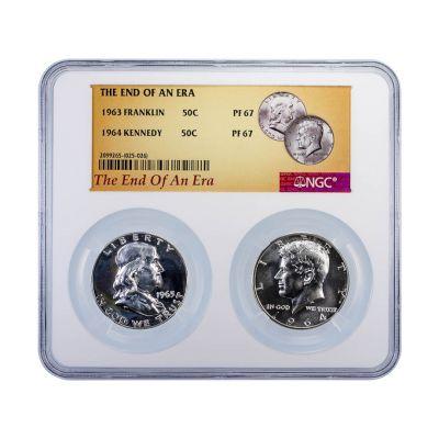 The End Of An Era 1963 Franklin & 1964 Kennedy Half Dollars Set PF67