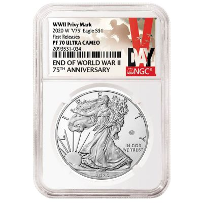 2020-W WWII Privy Mark 75th Anniversary American Silver Eagle NGC PF70 UCAM