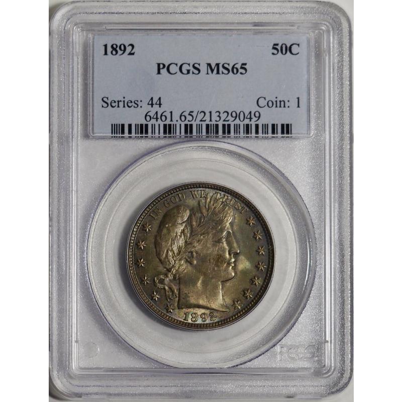 1892 Barber Half Dollar -- PCGS MS65
